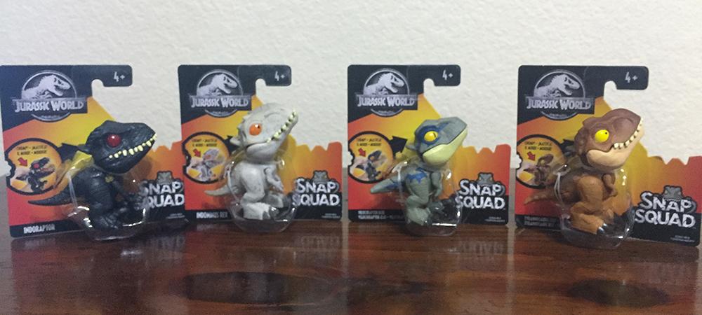 Jurassic World Snap Squad Wave 4 Full Set of 4 Pack Mini Dinosaur Toy Figures