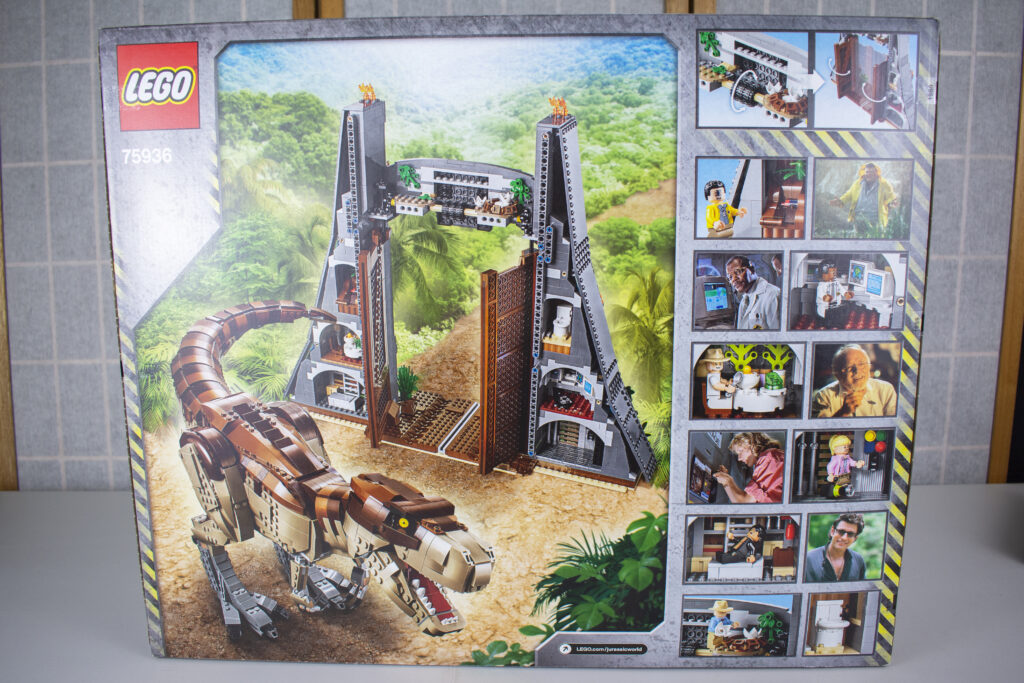 Jurassic Park T-Rex Rampage - Back of Box Image.